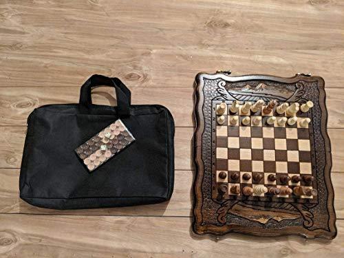 Wooden Chess Set Armenian - 3 in 1 - Chess - Backgammon - Checkers - Armenian Aarat Chess, Armenian Best Gift