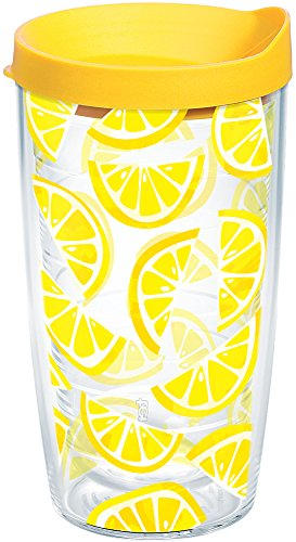 Tervis 1243342 Lemon Trend Tumbler with Wrap and Yellow Lid 16oz, Clear