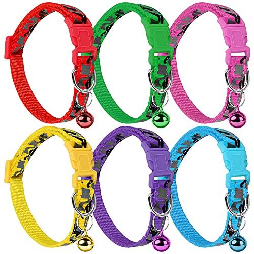 6 Piezas Collar de Perro, Collares Ajustables para Mascotas, Collares de Liberación Rápida para Cachorro y Gatito (7.5'' - 12.6'')