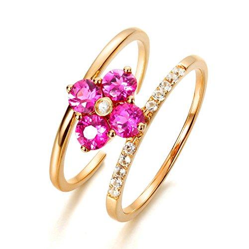 Anyeda Anillo Hombres/Mujeres 18K Gold Doble Diamante Flor Oro Rosa Anillo Plata Verde Tamaño 16