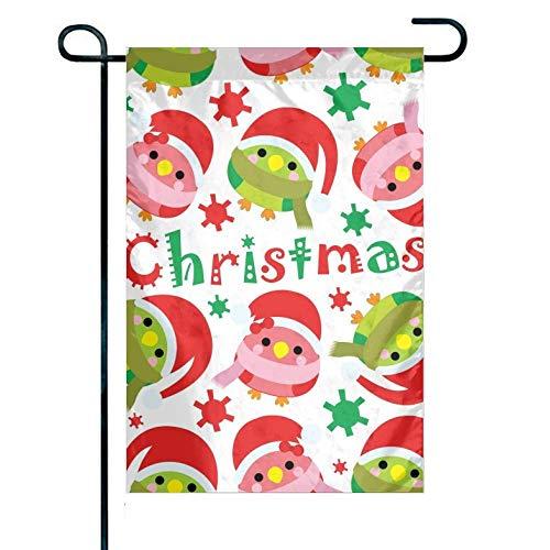 Nahtloser Hintergrund von niedlichen Vögeln mit doppelseitiger Polyester-Gartenflagge der Weihnachtsmütze - 12,5 'B X 18' H.