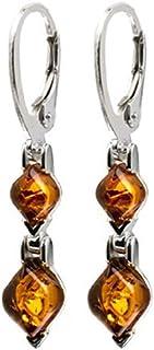 Sterling Silver Amber Rhombs Leverback Earrings