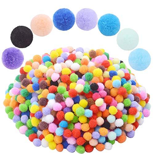 Pompons,800 Pi/èces Craft Pompons Multicolore Fluffy Petit Pompon pour Artisanat Art DIY Jouets D/écoration 5 Tailles