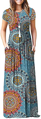DEARCASE Women's Short Sleeve Casual Loose Long Maxi Dresses with Pockets Mix Blue Flower Large
