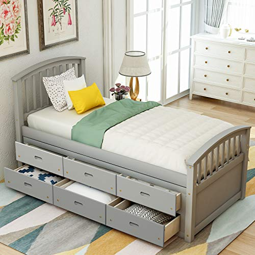 Gray Bed Frame Twin with 6 Drawers,JULYFOX Pine Wood Stoarage Bed Platform with Slat Headboard Footboard Wood Slats No Box Spring Need Heavy Duty Captain's Bed for Small Spaces