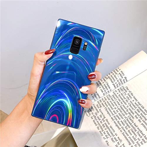 Herbests Kompatibel mit Samsung Galaxy S9 Hülle Glitzer Glänzend Kristall Aurora Bunte Weich Silikon Handyhülle Ultra dünn Schutzhülle TPU Bumper Handytasche Crystal Case Cover,Blau