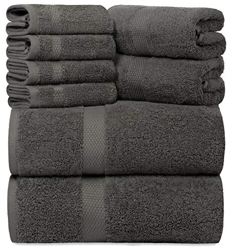White Classic Luxury Grey Bath Towel Set - Combed Cotton Hotel Quality Absorbent 8 Piece Towels | 2 Bath Towels | 2 Hand Towels | 4 Washcloths [Worth...