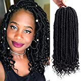 VRHOT 6Packs 14 inch Straight Goddess Locs Crochet Hair Braids Prelooped Straight Faux locs with Curly Ends Synthetic Hair Extensions Dreadlocks Braiding Hair (14 inch (6packs), 1B)