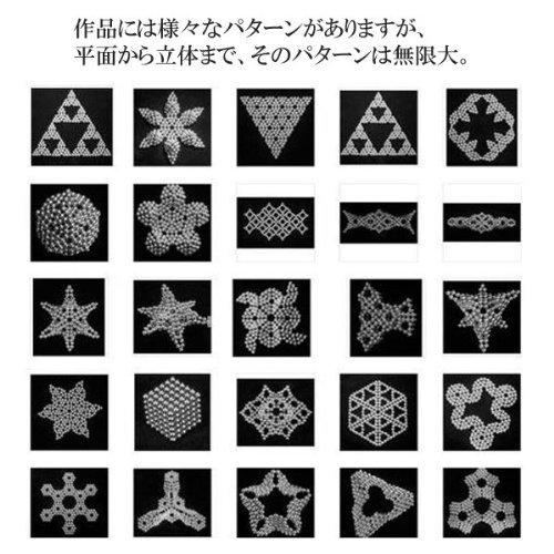 強力磁石の立体パズル!マグネットボール216個セットシルバー