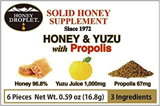 Honey Droplet Honey & Yuzu with Propolis, 6 Count