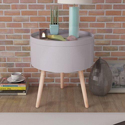 Luckyfu Questo Tavolinetto con Vassoio da Portata Rotondo 39,5x44,5 cm Grigio.in Grado di Usare Come tavolino da Caffe, Un Comodino, Un tavolino, etc.tavolini Salotto tavolini Soggiorno