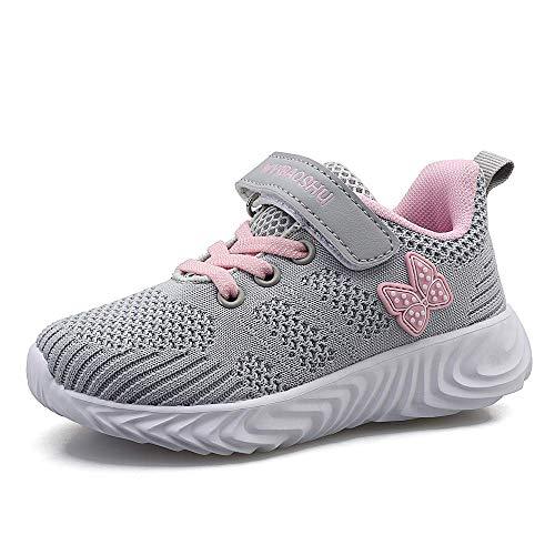 Decai Ligeras Zapatillas Deportivas Unisex Niños Zapatillas de Correr Niño Zapatos Deportivo Transpirable Niña Zapatos de Running Deportes de Exterior Interior Gris 33 EU