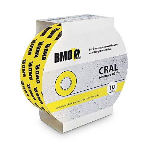 BMD - cral Hochleistungsklebeband (Gelb - 60mm x 40lfm) zur Verklebung von Dampfsperrfolie Dampfbremsfolie nach DIN Norm 4108 Teil 7