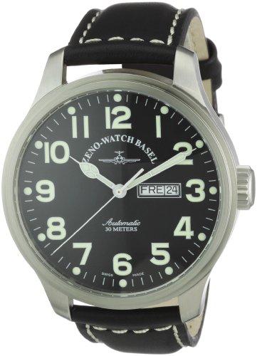 Zeno Watch Basel Pilot Oversized 8554DD-a1 - Reloj de caballero automático, correa de piel color negro