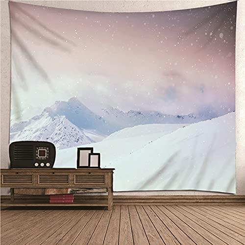 Aeici Tapiz Yoga, Tapiz Pared Decoracion Rustico Tapiz de pared Montaña de nieve Tapiz- blanco, 260x240CM