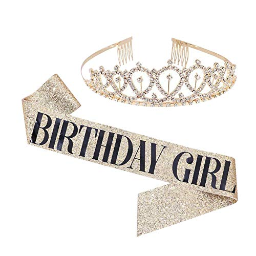 Gold Geburtstagskrone Geburtstag Kristall Kopfschmuck Krone und Geburtstagsgürtel Geburtstag Kronprinzessin Krone Haarschmuck