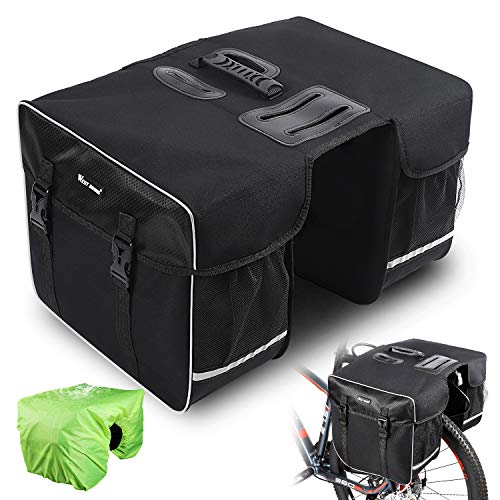 West Biking Bicycle Water Repellent Double Pannier Bag, 30L Large Capacity Durable Rear Seat Trunk Bag with Strap, Multi-function Commuter Luggage Carrier Cycling Pouch with Rainproof Cover