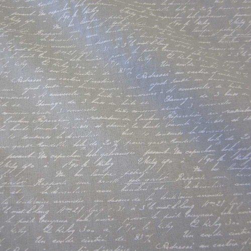 Stoff Baumwollstoff Baumwolle hellgrau grau weiß Handschrift Schrift Poesie Frankreich