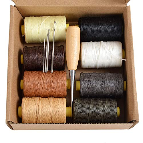 Pack of 8X 100m Flat Leather Sewing Waxed Thread with 4 Needles and AWL Leather Craft