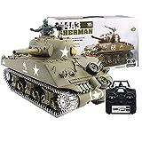 Tosbes Tanque teledirigido con sonido, humo e iluminación, 2,4 GHz RC M4A3 Sherman de metal de combate a escala 1:16, para niños y adultos