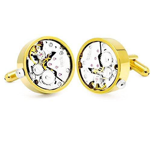 Honey Bear Watch Movement Herren Manschettenknöpfe Cufflinks Steampunk Uhrwerk Uhr Bewegung Edelstahl (Gold)
