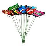 Fleymu Farfalle Colorate su Bastoni Giardino Decorative Pianta Farfalle Set Terrazza Ornamenti Esterno Fiori Interni Vaso Decor Picchetti su Bastoncini per Yard Patio Lawn Outdoor Farfalle Decorazione