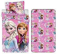 Frozen Elsa y Anna - Juego de cama individual de 3 piezas, funda nórdica de 140 x 200 cm, funda de almohada de 70 x90 cm, sábana bajera de algodón