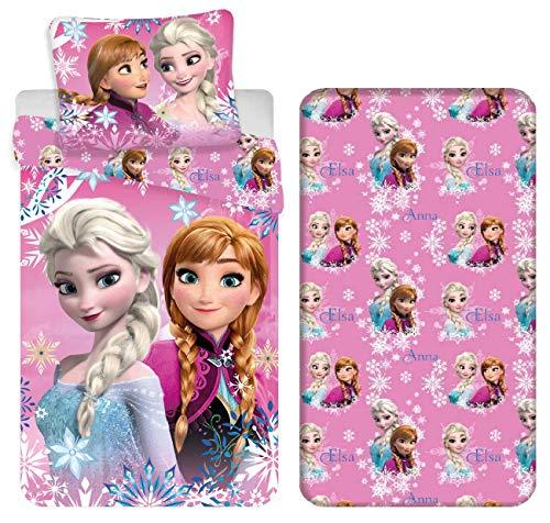 Frozen Elsa e Anna 3pezzi Set Letto Singolo Copripiumino 140x200, Federa 50x70, Lenzuola c/Angoli Cotone Biancheria da Letto Bambini
