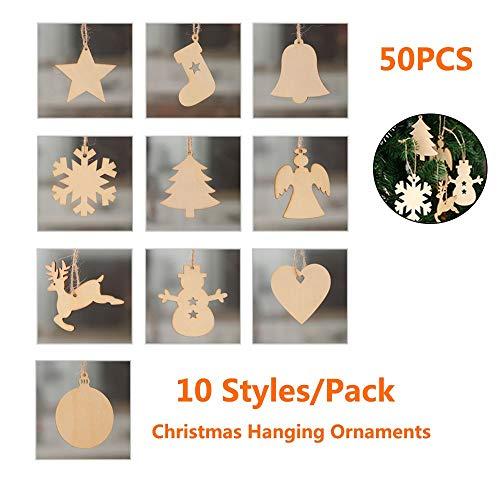 kungfu Mall - 50 Unidades de 10 Estilos de árbol de Navidad de Madera para Colgar, Adornos, Copo de Nieve, Estrella, muñeco de Nieve, Alce Colgantes, Madera, Manualidades, decoración de Navidad
