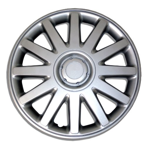 TuningPros WSC-610S16 - Pack of 4 Hubcaps - 16-Inches Style Snap-On (Pop-On) Type Metallic Silver Wheel Covers Hub-caps