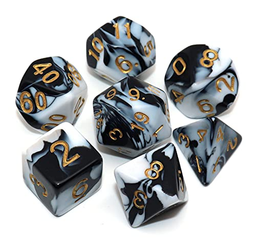 CREEBUY DND RPG Polyhedral Dice Set Black & White Dice for Dungeon and Dragons D&D Pathfinder Role Playing Game Dice with Dice Bag