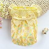 ACHICOO Niedliche Sommer Blumendruck Bowknot Kleid für kleine Haustier Welpen Pomeranian Geige L für Heimtierbedarf