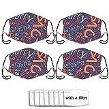 Love Man 4 máscaras de tela multiusos para adultos, lavables, reutilizables y ajustables con 8 filtros