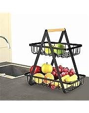 PEALOV Fruitmand, 2 etages, fruitmand, 2 verdiepingen, metaal, fruitmand, zwart, eenvoudig te demonteren en onlosmakelijk te gebruiken, fruitschaal voor het bewaren van de keuken, groenterek, broodstandaard voor keuken