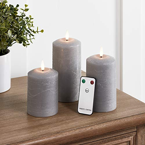 Lights4fun Set of 3 TruGlow Grey Pillar Candles Battery LED Flameless with Timer Remote Included
