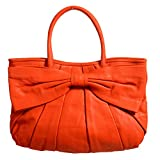 Red Valentino Women's Orange 100% Leather Bow Decorated Tote Shoulder Bag