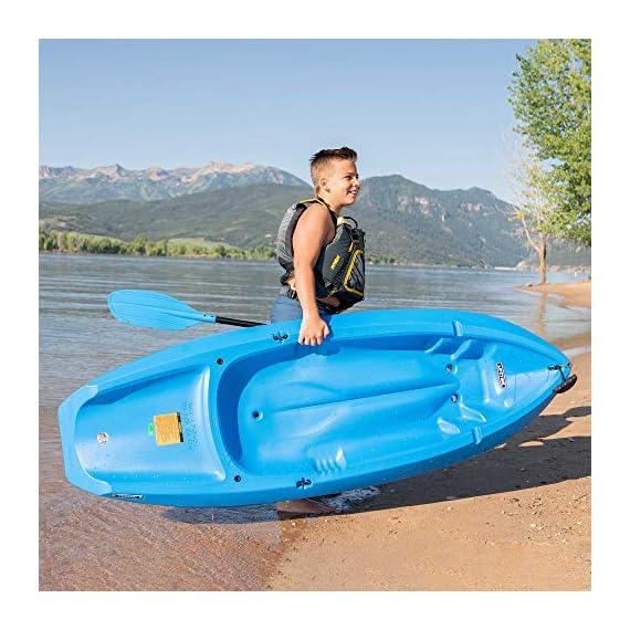 Lifetime Youth Wave Kayak (Paddle Included), Blue, 6' 4 Ergonomic Cockpit Design Enhances Balance and Motor Skills Molded finger handles on each side of the kayak Reverse chine for enhanced stability with swim-up step