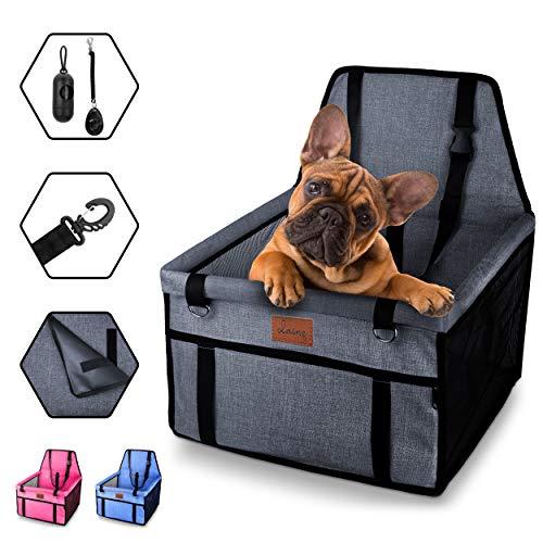 dainz Hundesitz fürs Auto (extrem stabil) - Beifahrersitz für kleine und mittlere Hunde oder Welpen - wasserfest, faltbar, robust - Autositz Hund mit Gurt - Hunde Autositz - Hundesitz Auto Rückbank
