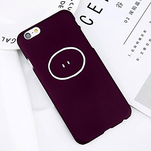 POHONOEO Netter Emoji Buchstabe Telefon Kasten für iPhone 6 6s plus ultra dünner matter harter PC rückseitige Abdeckungs Karikatur Muster Kasten für iPhone 6S, Wein Rot 9427, für iPhone 6 6s plus