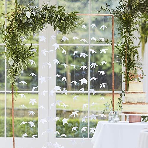 Ginger Ray Botanical Wedding Papel Blanco Flor Origami Fond