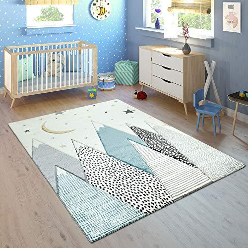 Paco Home Kinderteppich Kinderzimmer Pastell Blau Grau Berg Mond Sterne Strapazierfähig, Grösse:140x200 cm
