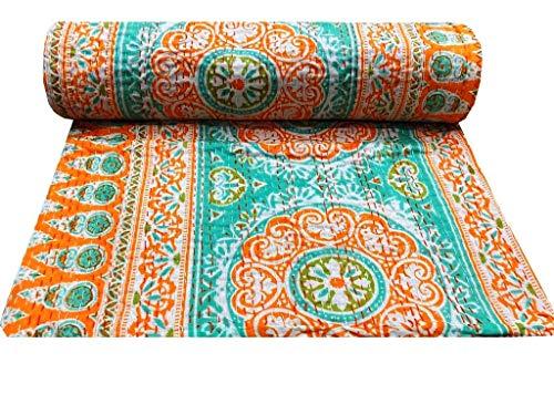 Kantha Décor - Colcha india para cama individual, diseño floral, color naranja