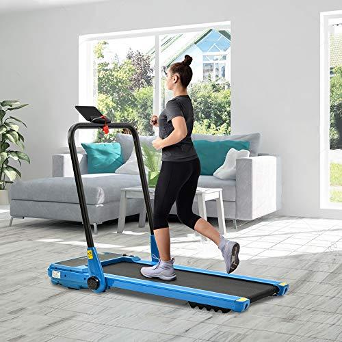 JoRecyczen Tapis roulant elettrico, piegatura con telecomando, 1 – 12 km/h e 1,5 HP potente motore per palestra, casa, ufficio, blu