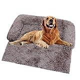 Sofá de felpa ultra suave para perro, cama de perro, manta mediana calmante para gatos, cojines desmontables y lavables para perros grandes y pequeños (102 x 90 x 20 cm), color marrón