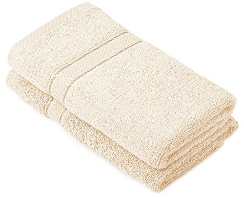 Pinzon by Amazon Lot de 2 serviettes de bain en coton Crème