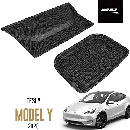 3D MAXpider Custom Fit All-Weather Lower Cargo Liners for Select Tesla Model Y - Kagu Rubber (Black)