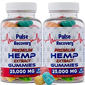 Hemp Gummies (2-Pack - 120 Count) Premium Hemp Extract Gummies - 25,000mg per Bottle - for Relief of Pain, Stress, Anxiety, & Improved Sleep - 100% Natural - Made in USA