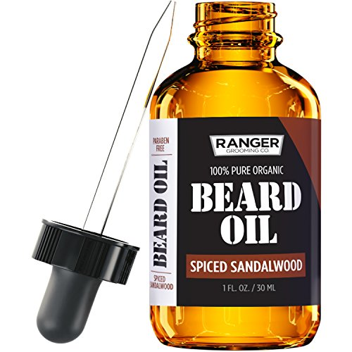 Spiced Sandalwood Beard Oil & Leave In Conditioner by Ranger Grooming Co by Leven Rose, 100% Pure Natural Organic for Groomed Beards, Mustaches, and Moisturized Skin 1 oz