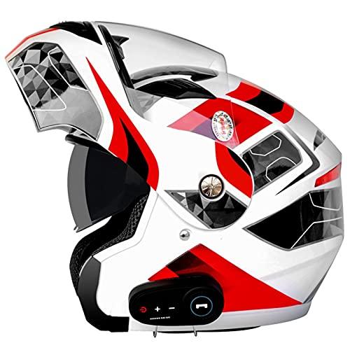 Bluetooth Casco Moto Modular Certificado ECE Cascos de Moto Integral Hombre Mujer con Doble Visera para Motocicleta Scooter, Casco Moto con Bluetooth Integrado ( Color : E , Size : (2XL/63-64CM) )
