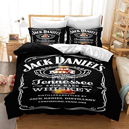 UMOOIN 2020Jack Daniels Bettbezug-Set, Schriftart Vintage Label Named Whiskey Dekorative 3 Stück Bettwäsche-Set mit 2 Kissen Shams,3,Sing 135 * 200cm